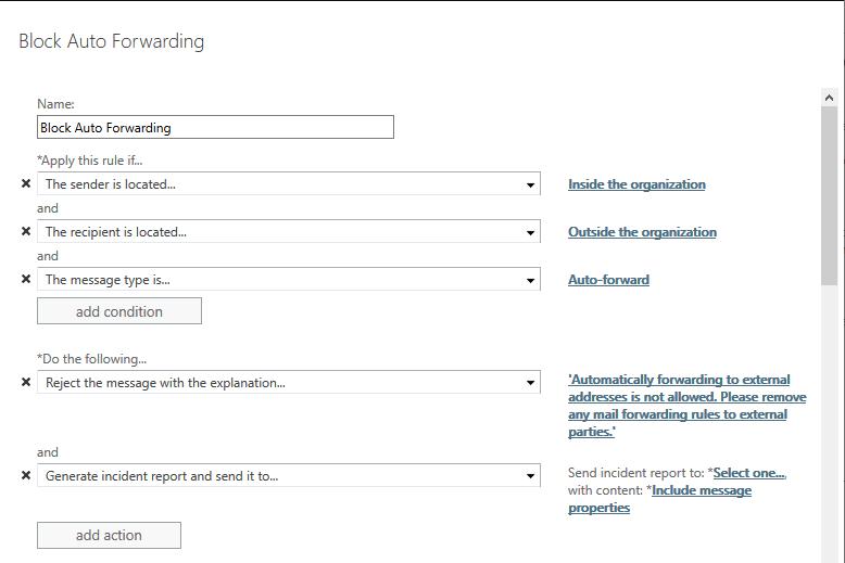 Blocking Office 365 Auto Forwarding