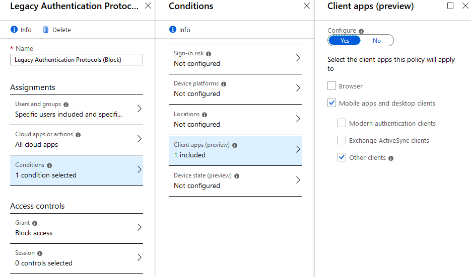 Using Azure Active Directory Sign-in Event Logs to identify specific Legacy Protocols