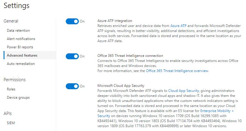 Microsoft 365 E5: MDATP configuration setting recommendations